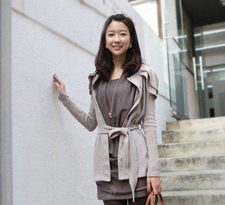 Slimming Solid Color Ruffle Cotton Blend Women's Dress - GRAY ONE SIZE