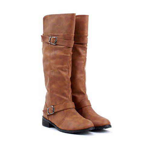 New Arrival Buckle and Low Heel Design Boots For Women