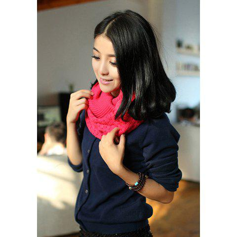 Chic Style Openwork Jacquard Embellished Pure Color Shawl - ROSE