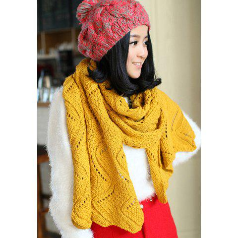 Fashionable Stylish Openwork Wave Hem Decorated Scarf For Women