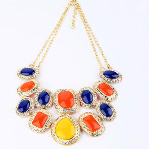 Rhinestoned Multilayered Alloy Geometric Necklace - AS THE PICTURE