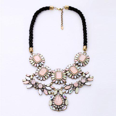 Gorgeous Rhinestone Embellished Flower Shape Pendant Necklace - AS THE PICTURE