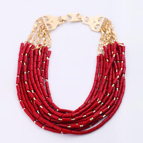 Multilayered Beaded Alloy Necklace - AS THE PICTURE