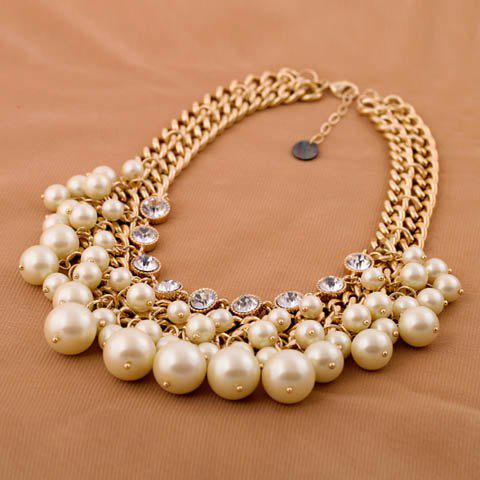 Stylish Fashionable Rhinestone Faux Pearl Decorated Necklace For Women - AS THE PICTURE