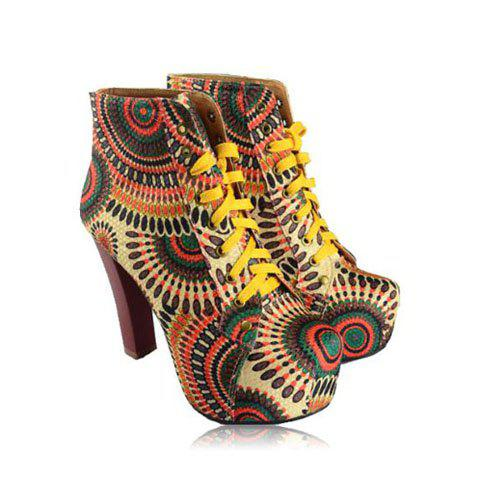 New Arrival Flower Print and Lace-Up Design Short Boots For Women - YELLOW 39