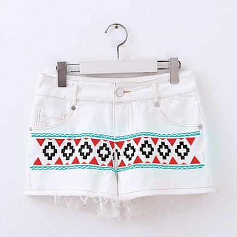 Women's Bleach Wash Easy Matching Low-Waistline Tassels Embellished Embroidery Denim Shorts - GREEN S