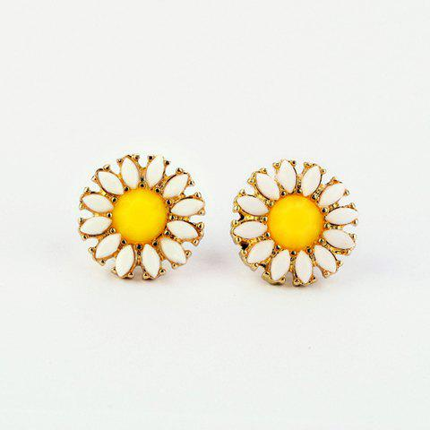 Fake Gemstone Daisy Stud Earrings - AS THE PICTURE