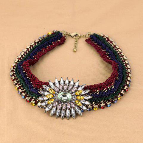 Fashionable Stylish Handmade Weaving Crystal Decorated Necklace For Women - AS THE PICTURE