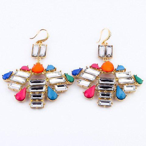 Pair of Faux Gemstoned Alloy Drop Earrings - AS THE PICTURE