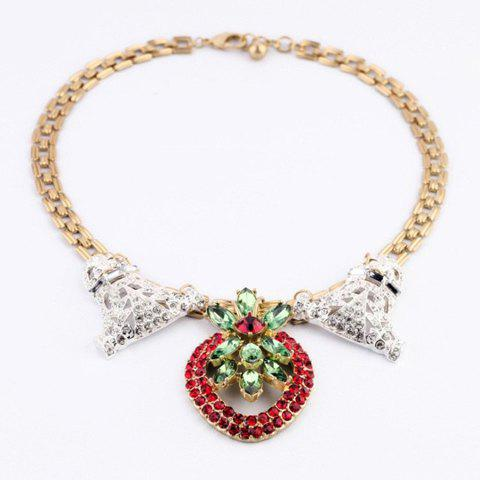Sweet Colored Rhinestoned Hollow Heart Pendant Necklace For Women