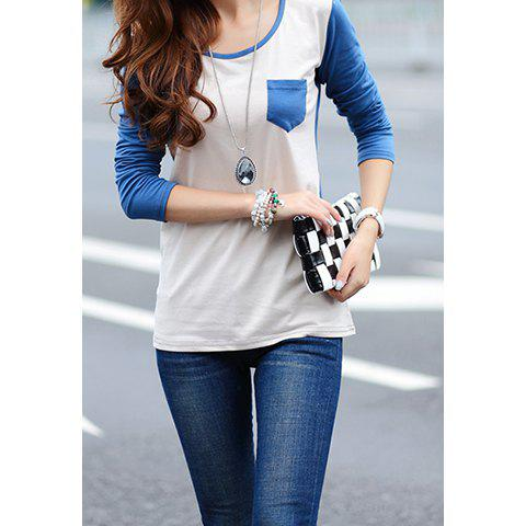 Women's Simple Design Scoop Neck Long Sleeve Casual T-Shirt - BLUE M