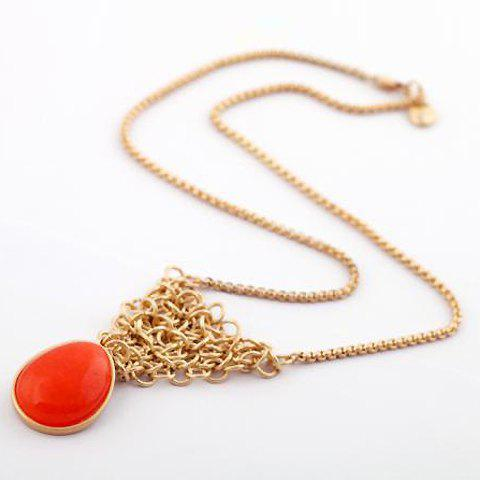 Characteristic Hot Sale Twisted Alloy Design Waterdrop Shape Pendant Necklace For Women - AS THE PICTURE