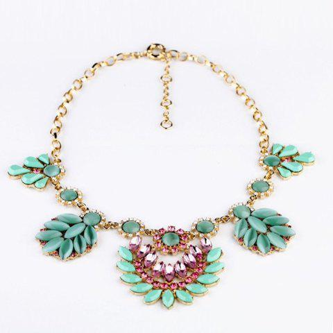 Exquisite Rhinestoned Colored Gemstone Embellished Pendant Alloy Necklace For Women