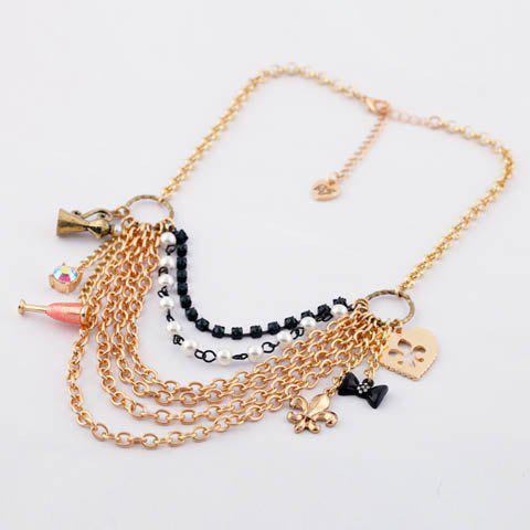 Exaggerated Chic Style Multielement Pendants Embellished Alloy Layered Necklace For Women - AS THE PICTURE