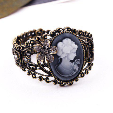 Vintage Chic Style Rhinestoned Flower Embellished Queen Print Bracelet For Women