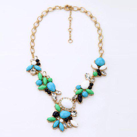 Chic Style Rhinestone and Faux Gem Embellished Candy Color Necklace - GREEN