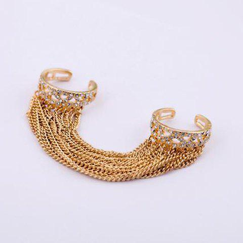2PCS of Gorgeous Rhinestoned Long Tassels Connected Rings For Women - AS THE PICTURE ONE SIZE