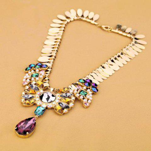 Stylish Colorful Faux Gem Rhinestone Beads Decorated Drop Shape Pendant Necklace For Women - AS THE PICTURE