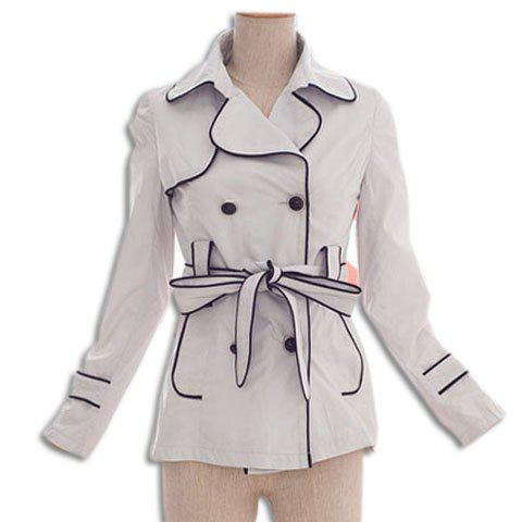 Vintage Double Breasted Turn-Down Collar Long Sleeve Trench Coat For Women - WHITE S