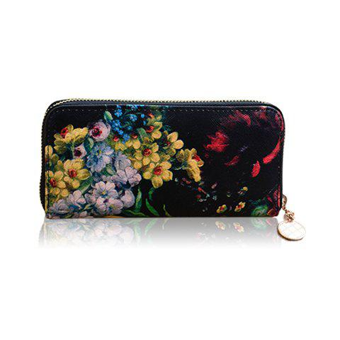 New Arrival Floral Print and Zipper Design Wallet For Women - BLACK