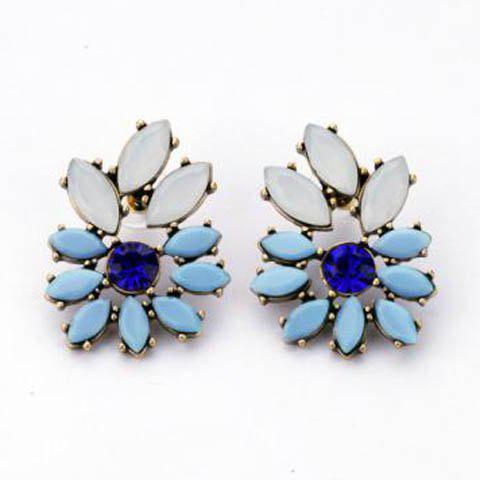 Elegant Multi-Color Rhinestone Embellished Earrings For Women - AS THE PICTURE