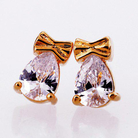 Pair of Bowknot Waterdrop Faux Crystal Stud Earrings - AS THE PICTURE