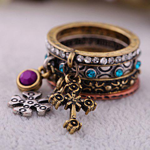 4PCS of Exquisite Rhinestoned Carved Design Cross Pendant Alloy Rings For Women - AS THE PICTURE ONE SIZE