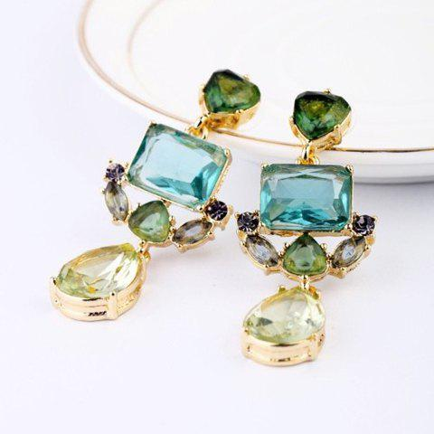 Pair of Faux Gemstone Embellished Earrings - AS THE PICTURE