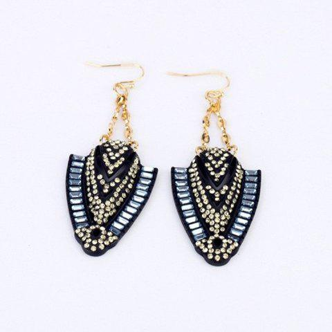 Pair of Fashion Rhinestone Embellished Feather Shaped Pendant Earrings For Women - COLOR ASSORTED