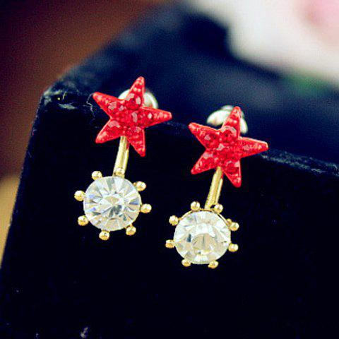 Pair of Fashion Rhinestoned Star Embellished Round Pendant Earrings For Women - COLOR ASSORTED
