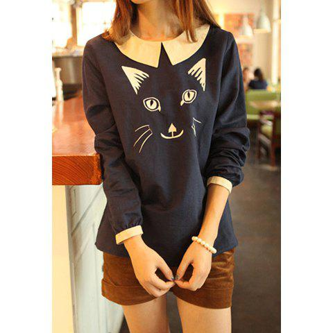 Doll Collar Embroidered Kitten Long Sleeved Plus Size Women's T-Shirt - BLUE ONE SIZE
