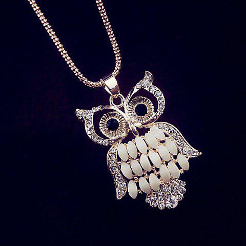Rhinestoned Owl Pendant Necklace - AS THE PICTURE