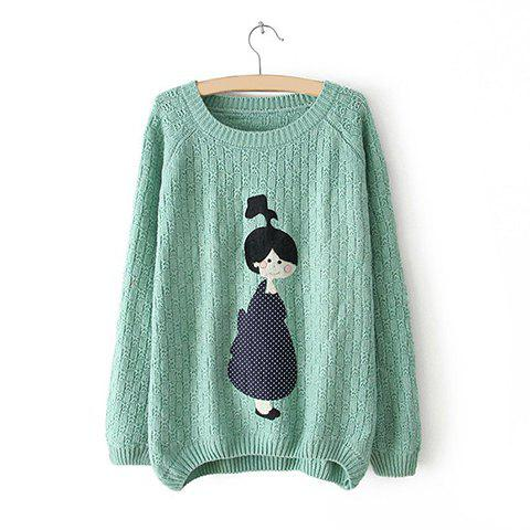 Casual Scoop Neck Little Girl Applique Asymmetrical Long Sleeve Sweater For Women - LIGHT GREEN ONE SIZE