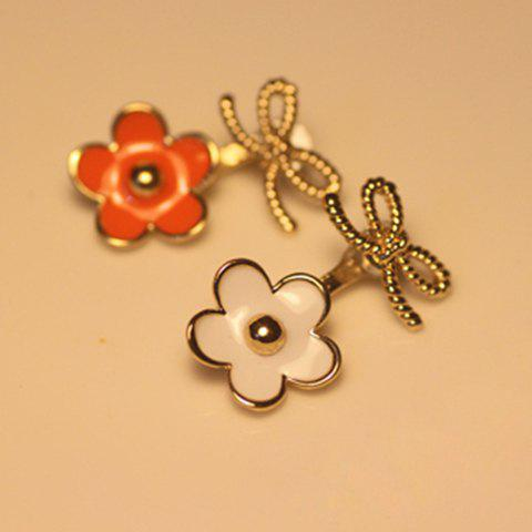 Pair of Cute Vivid Colored Glazed Flower Shape Clip Earrings For Women - COLOR ASSORTED