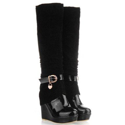 New Arrival Elegant Patchwork and Buckle Design Boots For Women - BLACK 37