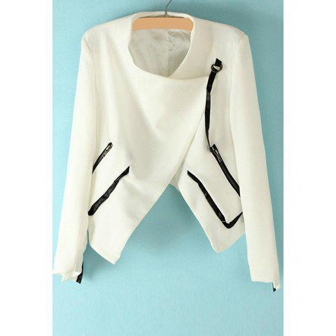Casual Splicing Zipper Asymmetrical Long Sleeve Coat For Women - AS THE PICTURE L