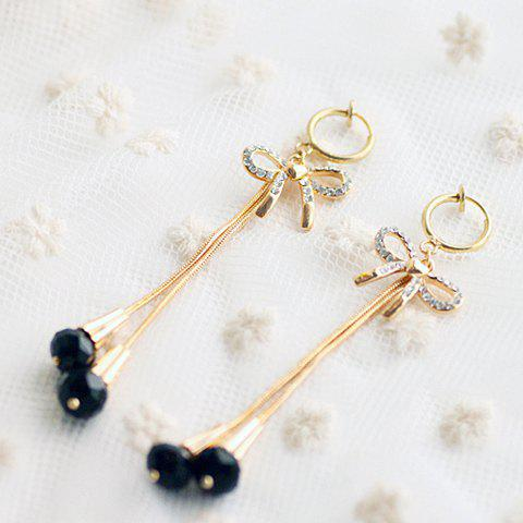 Pair Of Ladylike Style Beads and Tassels Design Rhinestoned Bowknot Drop Earrings - AS THE PICTURE