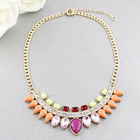 Gorgeous Multicolor Style Gemstone Embellished Watershape Necklace - AS THE PICTURE