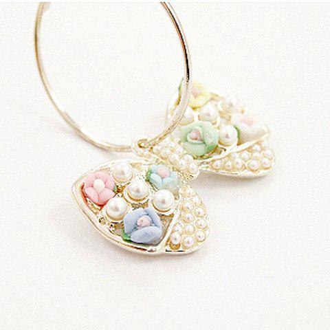 Pair Of Characteristic Resign Flower and Pearl Design Bowknot Clip Earrings - COLOR ASSORTED