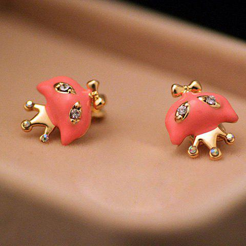 Pair Of Characteristic Rhinestone Embellished Cartoon Red Wolf Shape Clip Earrings - AS THE PICTURE
