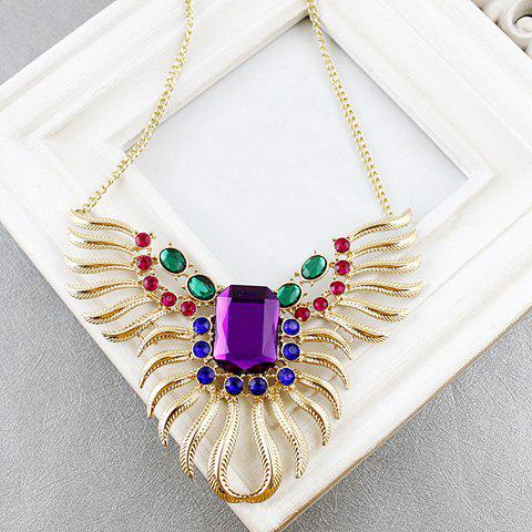 Vintage Gem and Rhinestone Embellished Wing Shape Women's Pendant Necklace - AS THE PICTURE