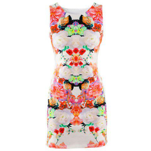 Vintage Slimming Scoop Neck Floral Print Sleeveless Dress For Women - COLORMIX M