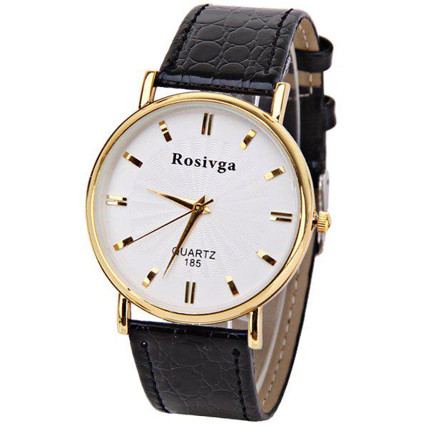 Rosivga Quartz Watch with Rectangles Indicate Leather Watch Band for Men - White - WHITE