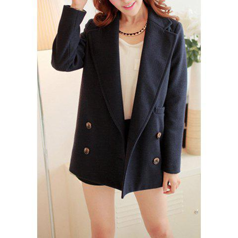 Simple Design Solid Color Button Lapel Long Sleeve Coat For Women - SAPPHIRE BLUE S