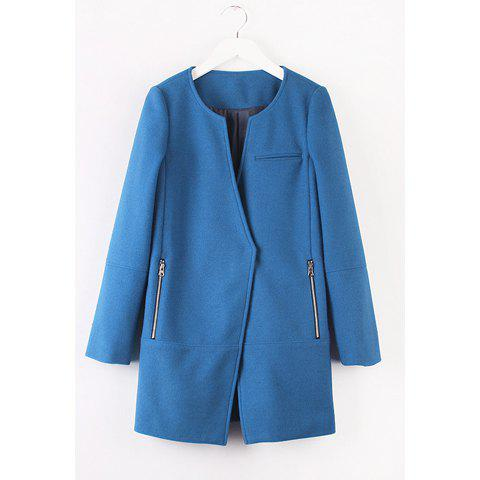 Sophisticated Solid Color Zipper Splicing Long Sleeve Coat For Women - BLUE L