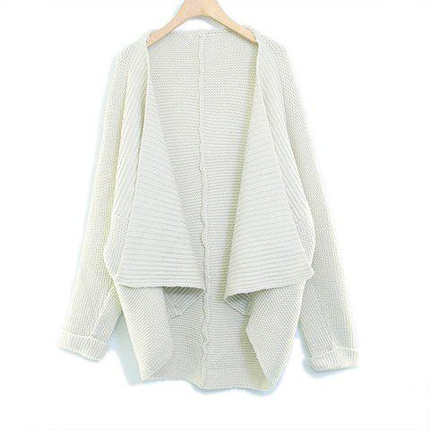 Fashionable Solid Color Asymmetrical Long Sleeve Sweater For Women - APRICOT ONE SIZE