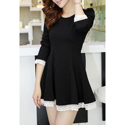 Women's Charming Lace Splicing Puff Sleeve New Dresses - BLACK S