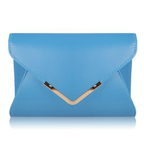 Casual Candy Color and Fashion Metal Design Women's Crossbody Bag - BLUE
