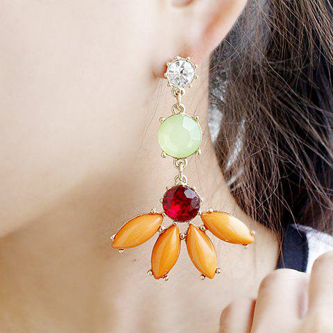 Stunning Colored Rhinestone and Gem Embellished Flower Shape Alloy Earrings For Women - AS THE PICTURE