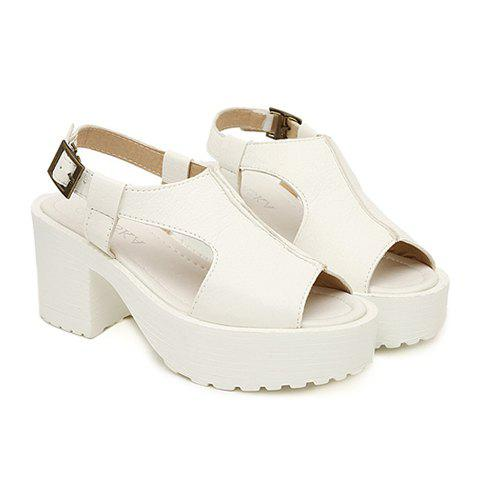 Fashion Style Solid Color and Peep Toe Design Women's Rubber Sandals - WHITE 39
